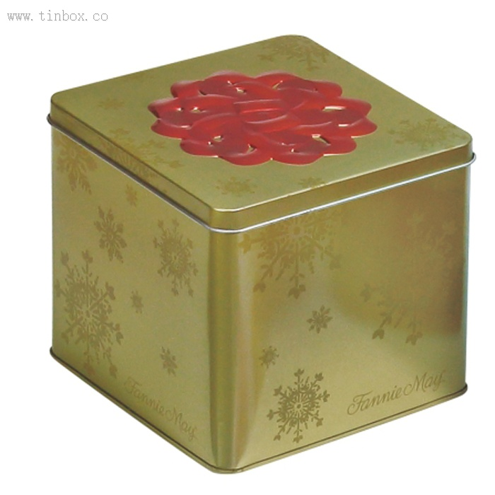 square tea tin box