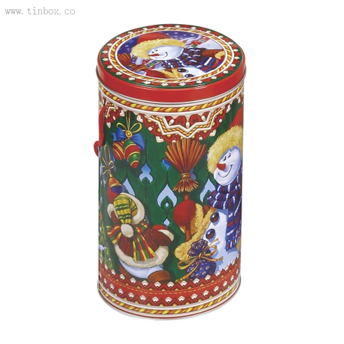 round tea tin box with handle
