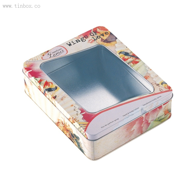 PVC window cosmetic tin box
