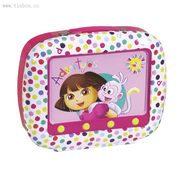 Dora TV shaped cosmetic tin box