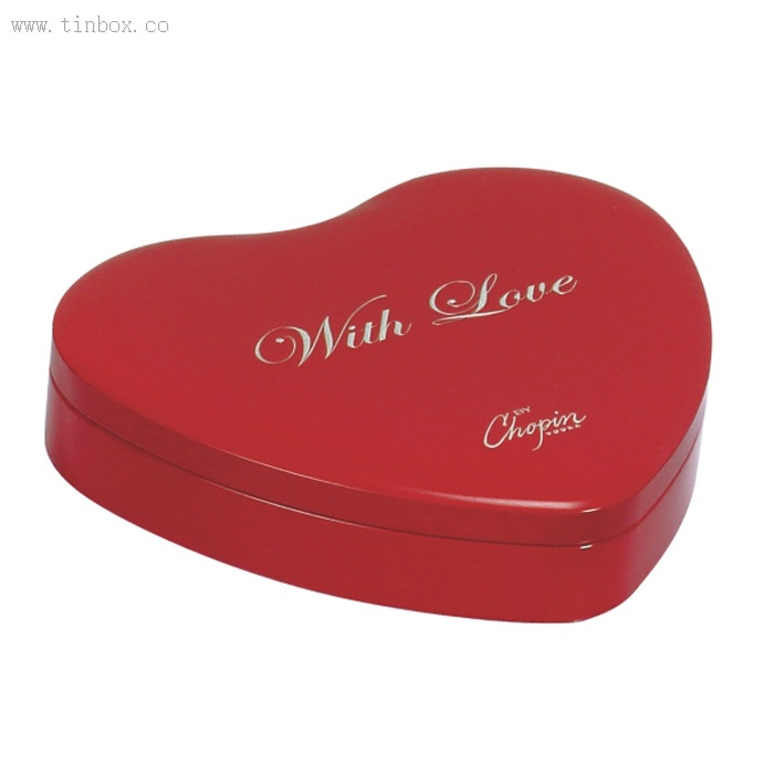Heart shaped chocolate tin box