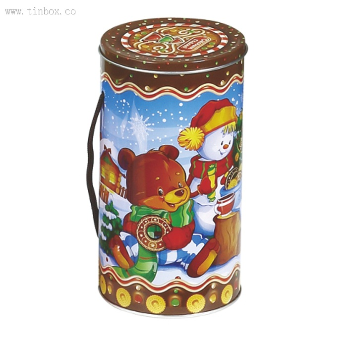 Round easter tin box