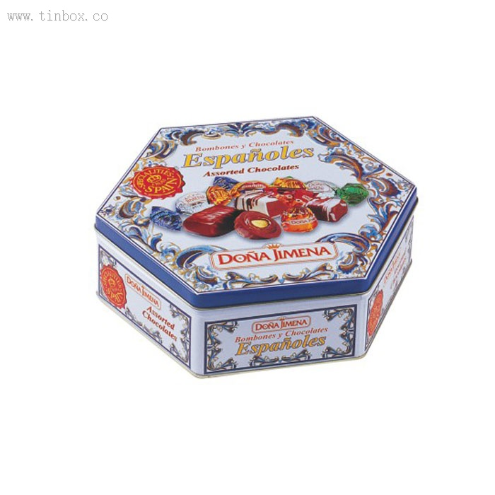 hexagon shaped chocolate tin box