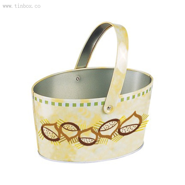 ellipse tin bucket with handle