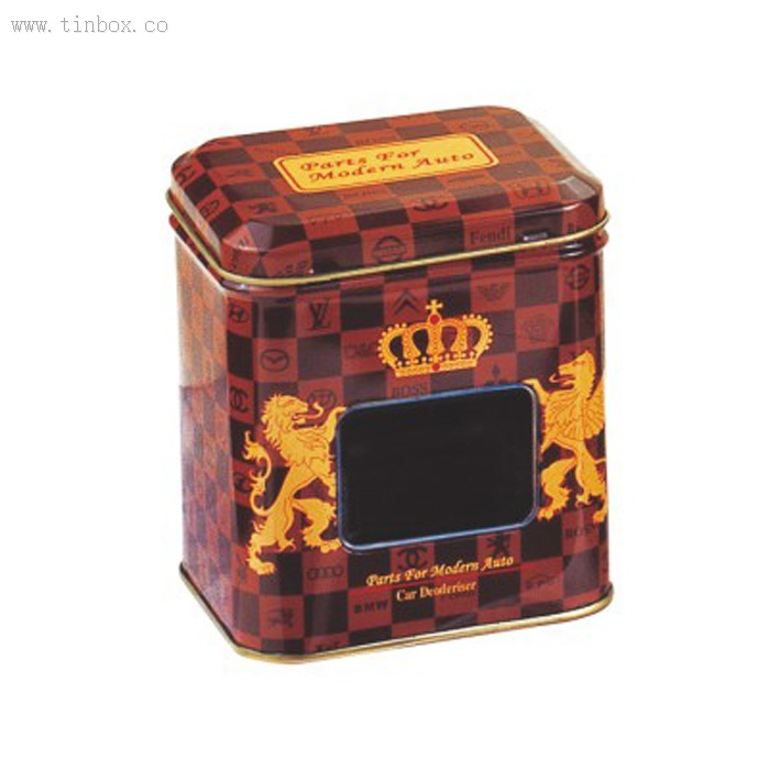 rectangular metal tin box with window for spice