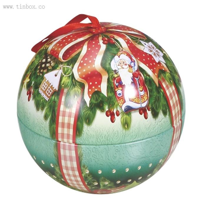 custom metal Christmas ball tin