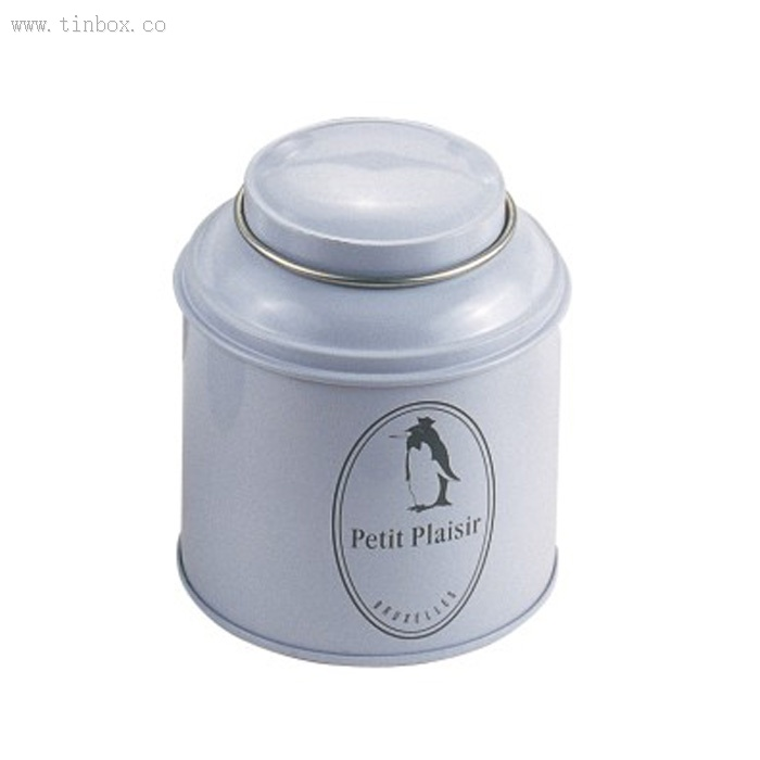 round coffee tin box with domed lid