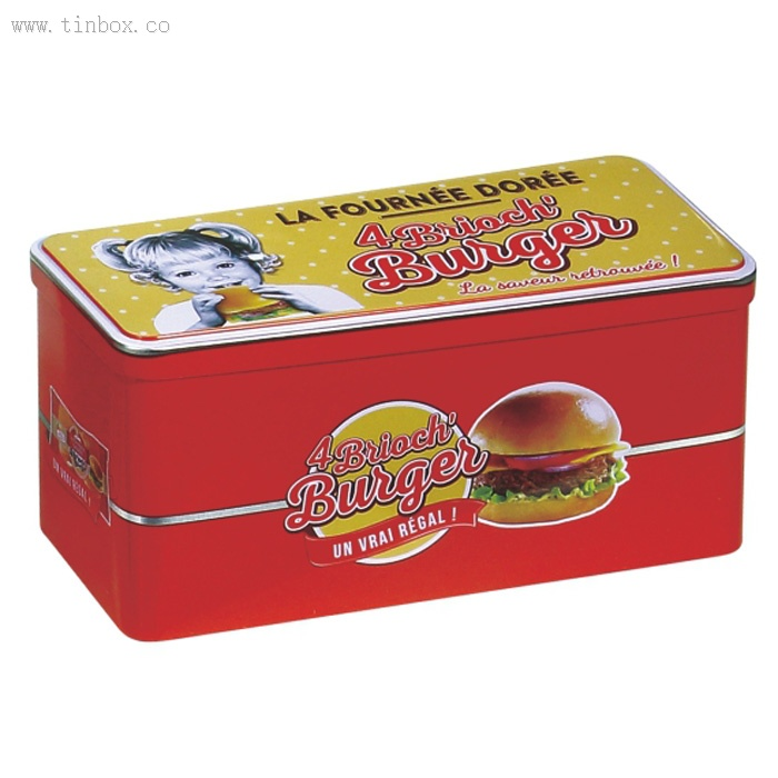 rectangular biscuit tin box with hinge lid