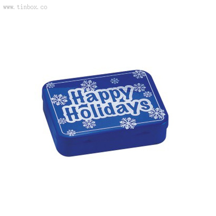 Christmas Rectangular metal containers Small Small Tin Box With Hinged Lid