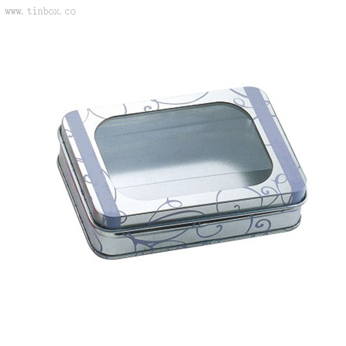 PICK YOUR SIZE Windowed Hinged Square /& Rectangular Tin Cans