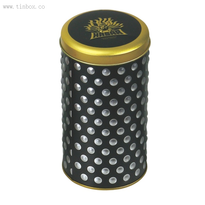 round popcorn tin box with dot embossing body