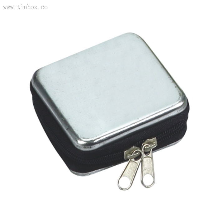 small square mint tin box with zip