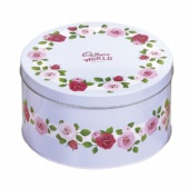 round chocolate vintage tin box