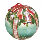 chocolate ball tin box with silk ribbon