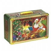 rectangular chocolate tin box with handle