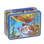 chocolate rectangular tin box with handle