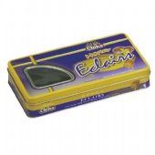 chocolate rectangular tin box with window