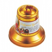 bell shaped chocolate tin box