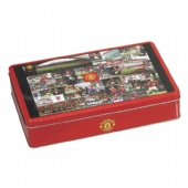 red square coffee tin box with step lid