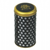 coffee round tin box with 3D embossing
