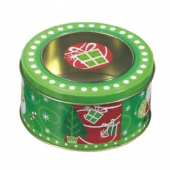 round coffee tin box with round window lid