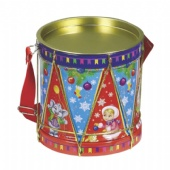 drum shaped tea tin box