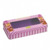 customized rectangular tea tin box with window