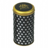 round wine tin box with embossing