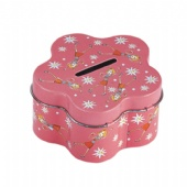 flower shaped coin tin box