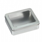 silver window biscuit tin box