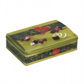 Rectangular chocolate tin box with embossing