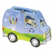 biscuit car tin box with handle and lcok