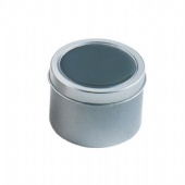 PET/PVC clear window Round small candle tin box