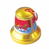 christmas bell shaped tin box