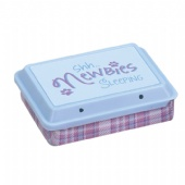 rectangular tin box with sliding plastic lid