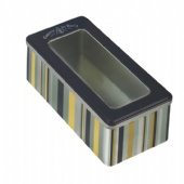 rectangular candy tin box with clear lid