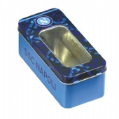 rectangular candy tin with clear lid