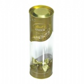 cylinder candy tin box with clear lid