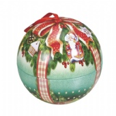 cute small christmas empty metal tin ball