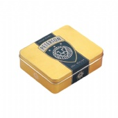 golden rectangular promotional tin box