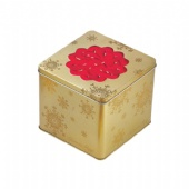 square promotional tin box with embossing