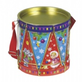 round candy tin box with sling