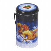 Christmas round handle candy tin box