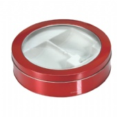 round candy tin with clear lid