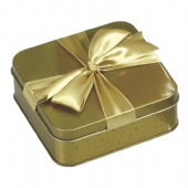 golden square candy gift tin box with ribbon