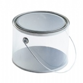 Clear PVC Sides round Tin bucket