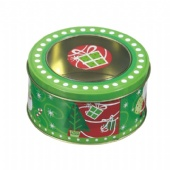 Christmas round window tin box
