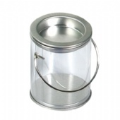Custom clear PET Pail and Buckets Top And Bottom With Metal Lids