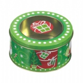 Round Christmas Tin with clear window