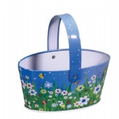 tin oval candy bucket with handle